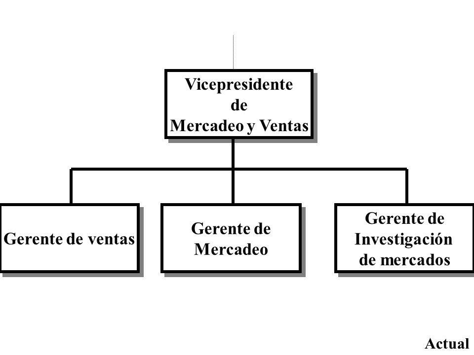 Vicepresidente de Mercadeo y Ventas Vicepresidente de Mercadeo y Ventas Gerente de ventas Gerente de Investigación de mercados Gerente de Investigació