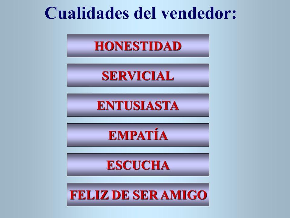 HONESTIDAD SERVICIAL ENTUSIASTA EMPATÍA ESCUCHA FELIZ DE SER AMIGO Cualidades del vendedor: