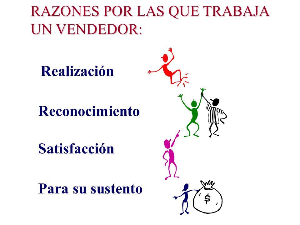 RAZONES POR LAS QUE TRABAJA UN VENDEDOR: Realización Reconocimiento Satisfacción Para su sustento