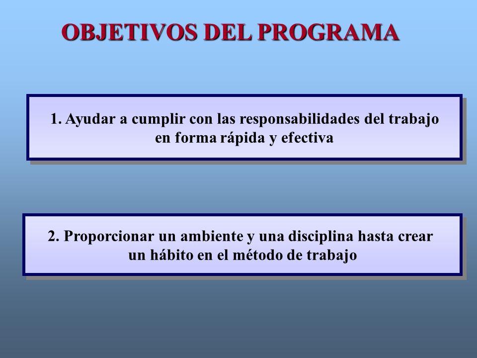 1. Ayudar a cumplir con las responsabilidades del trabajo en forma rápida y efectiva 1. Ayudar a cumplir con las responsabilidades del trabajo en form