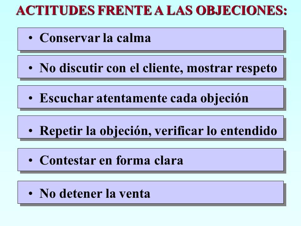 ACTITUDES FRENTE A LAS OBJECIONES: Conservar la calma No discutir con el cliente, mostrar respeto Escuchar atentamente cada objeción Repetir la objeci