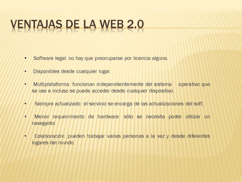 Software legal: no hay que preocuparse por licencia alguna. Disponibles desde cualquier lugar. Multiplataforma: funcionan independientemente del siste