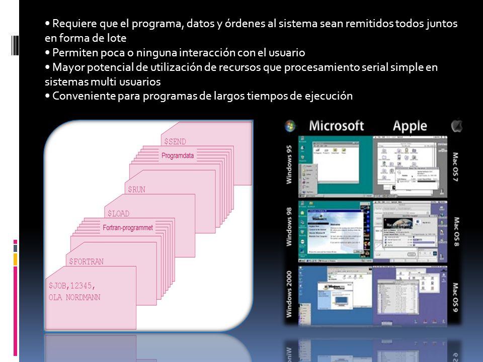 SISTEMAS OPERATIVOS POR LOTES Los sistemas operativos por lotes, procesan una gran cantidad de trabajos con poca o ninguna interacción entre los usuar