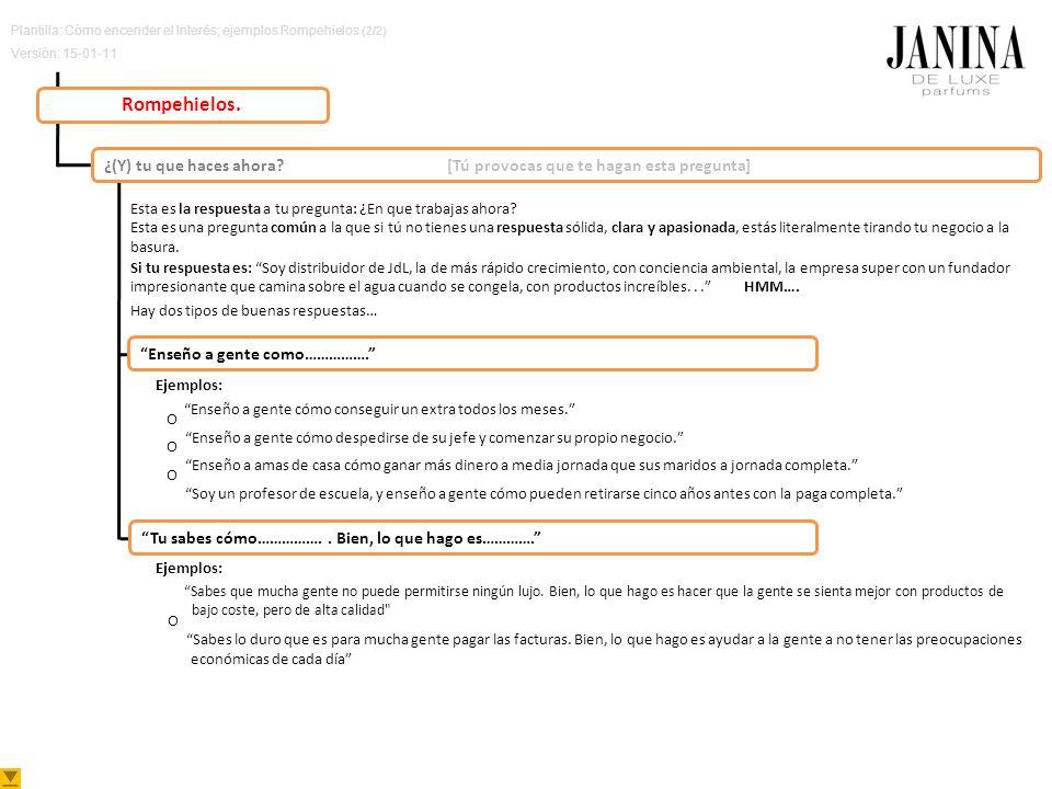 Plantilla: Cómo encender el Interés; ejemplos Rompehielos (2/2) Versión: 15-01-11 Rompehielos. ¿(Y) tu que haces ahora? [Tú provocas que te hagan esta