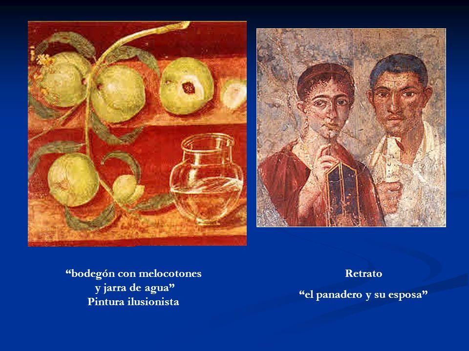 bodegón con melocotones y jarra de agua Pintura ilusionista Retrato el panadero y su esposa