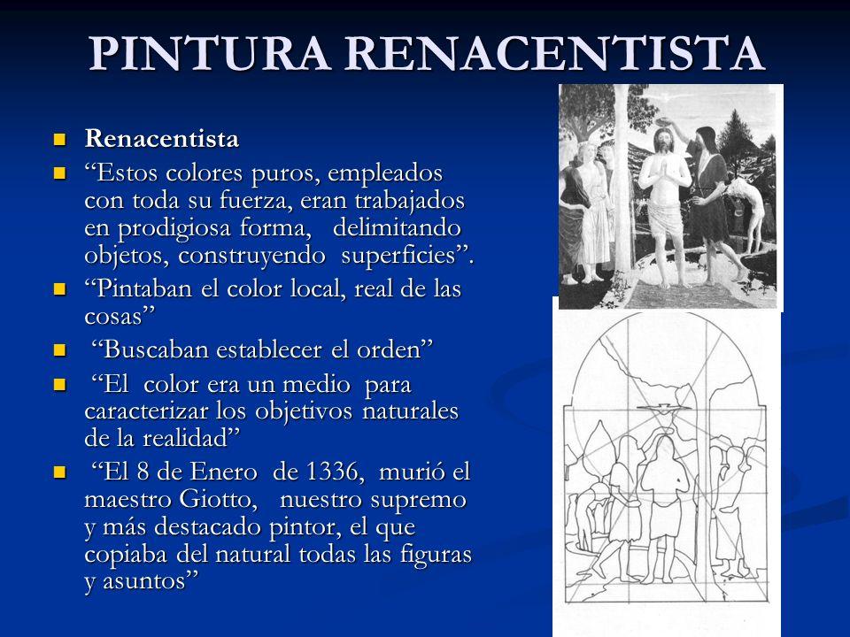 PINTURA RENACENTISTA Renacentista Renacentista Estos colores puros, empleados con toda su fuerza, eran trabajados en prodigiosa forma, delimitando obj
