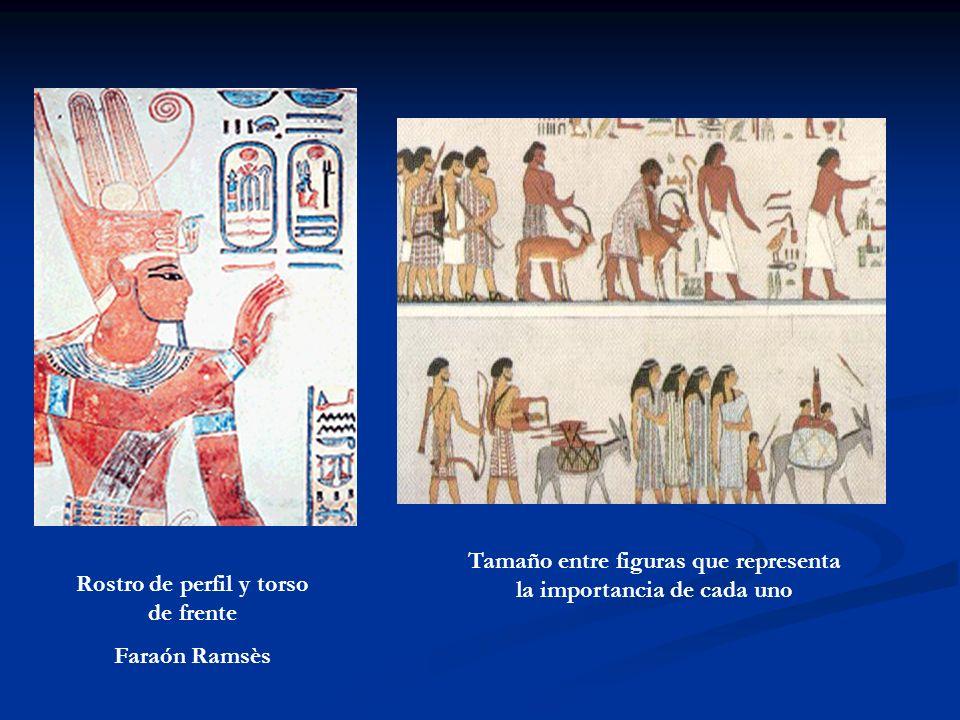 Rostro de perfil y torso de frente Faraón Ramsès Tamaño entre figuras que representa la importancia de cada uno