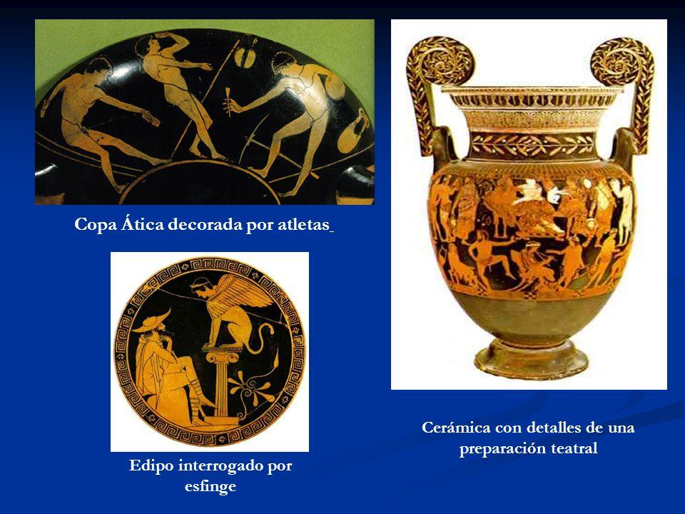 Copa Ática decorada por atletas Cerámica con detalles de una preparación teatral Edipo interrogado por esfinge