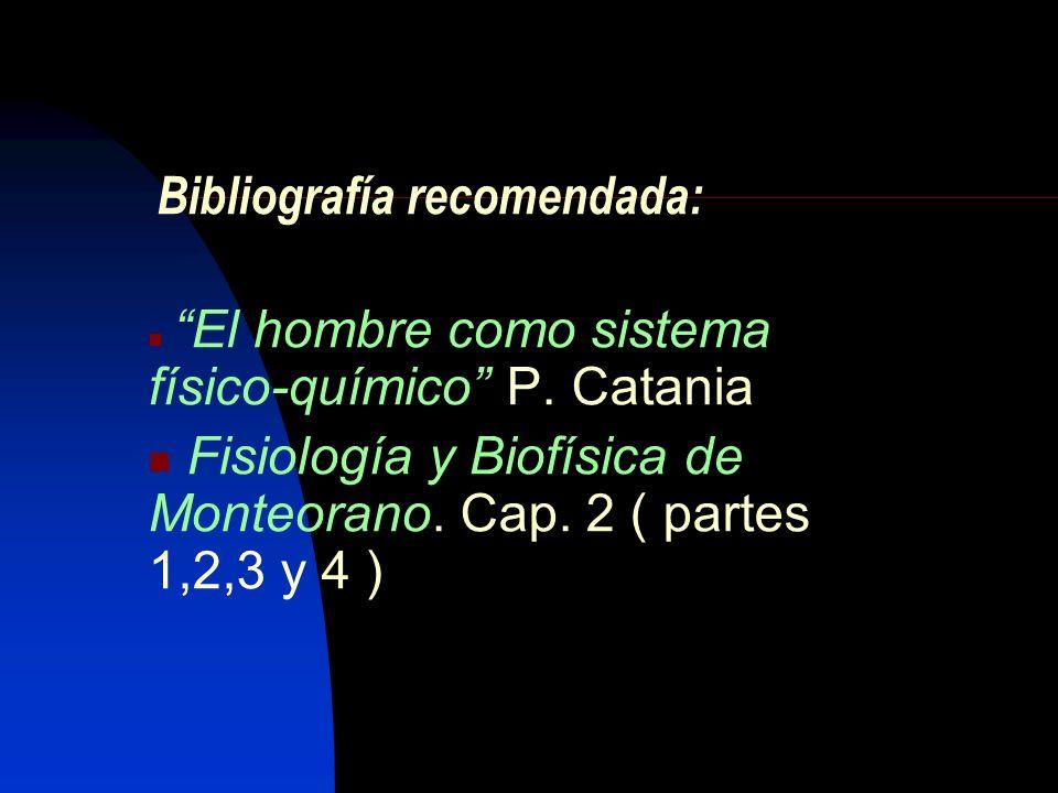 Bibliografía recomendada: El hombre como sistema físico-químico P. Catania Fisiología y Biofísica de Monteorano. Cap. 2 ( partes 1,2,3 y 4 )
