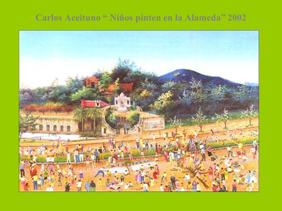 Carlos Aceituno Niños pinten en la Alameda 2002