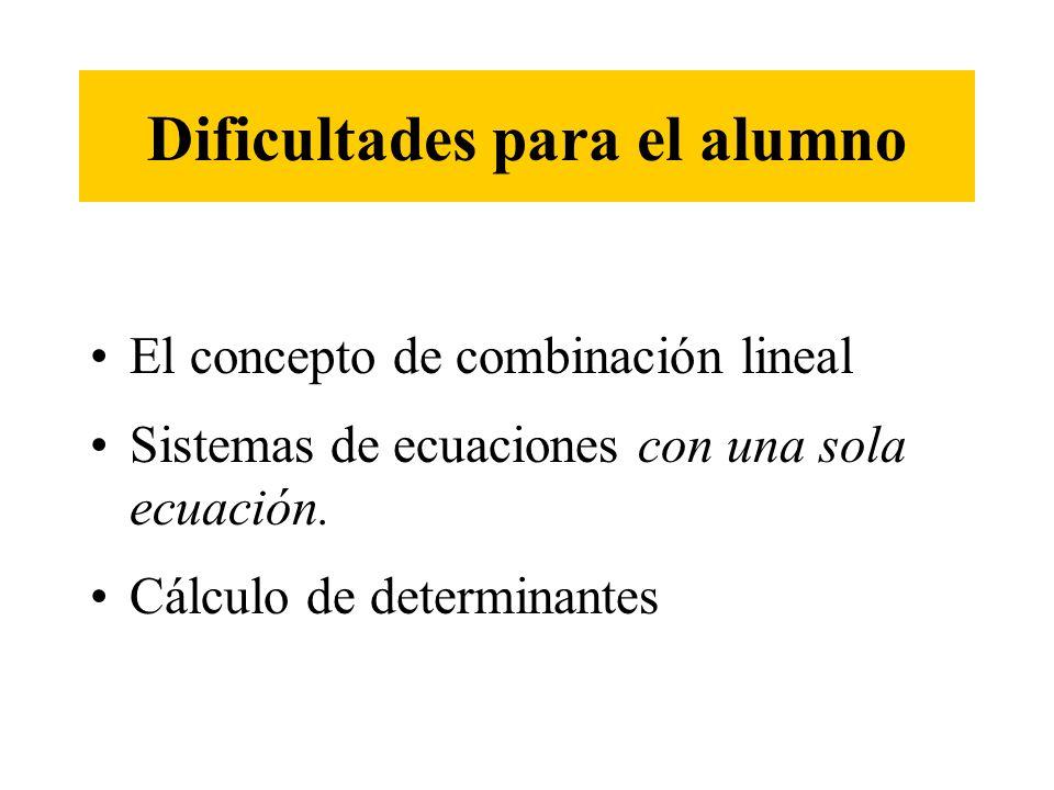 Dificultades para el alumno El concepto de combinación lineal Sistemas de ecuaciones con una sola ecuación. Cálculo de determinantes