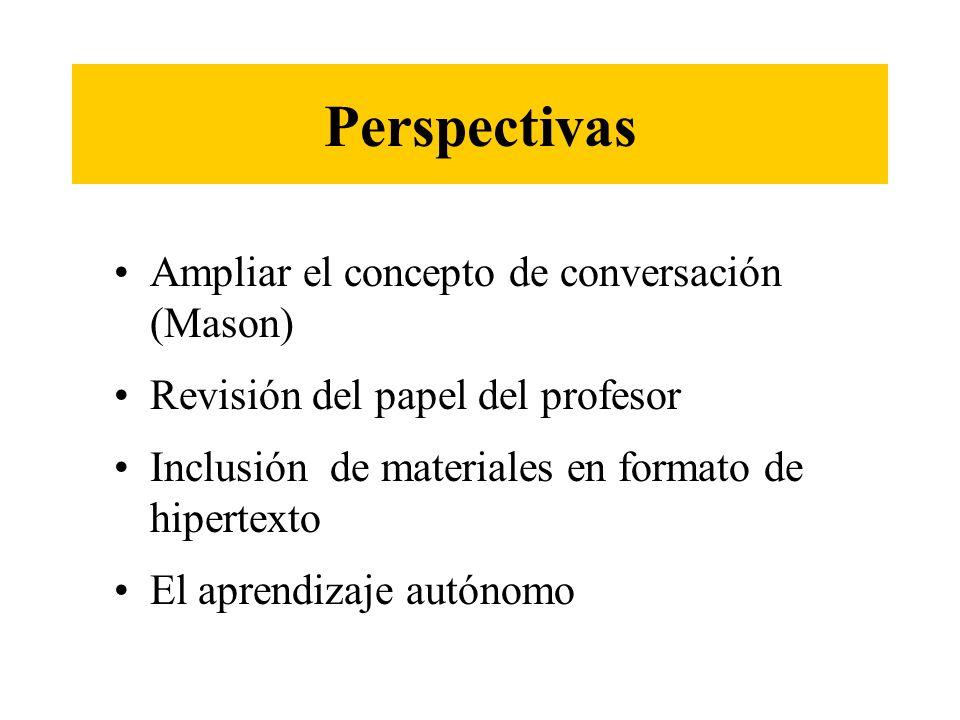 Perspectivas Ampliar el concepto de conversación (Mason) Revisión del papel del profesor Inclusión de materiales en formato de hipertexto El aprendiza