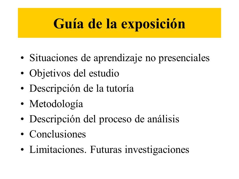 Guía de la exposición Situaciones de aprendizaje no presenciales Objetivos del estudio Descripción de la tutoría Metodología Descripción del proceso d