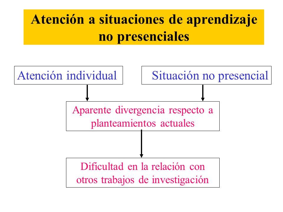 Atención a situaciones de aprendizaje no presenciales Atención individualSituación no presencial Aparente divergencia respecto a planteamientos actual