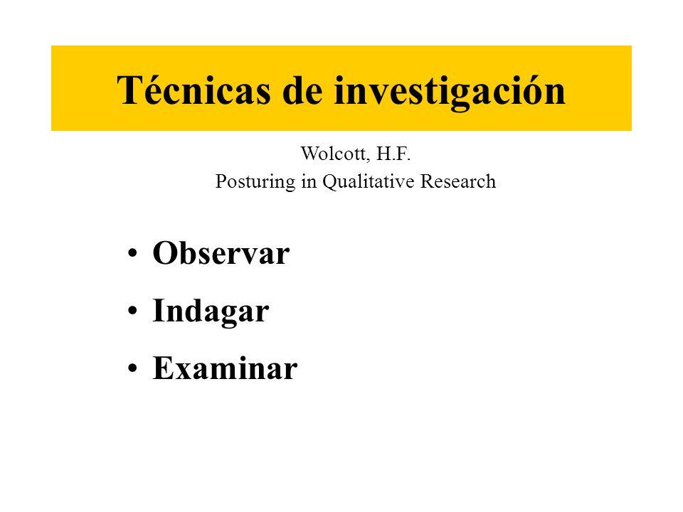 Observar Indagar Examinar Técnicas de investigación Wolcott, H.F. Posturing in Qualitative Research