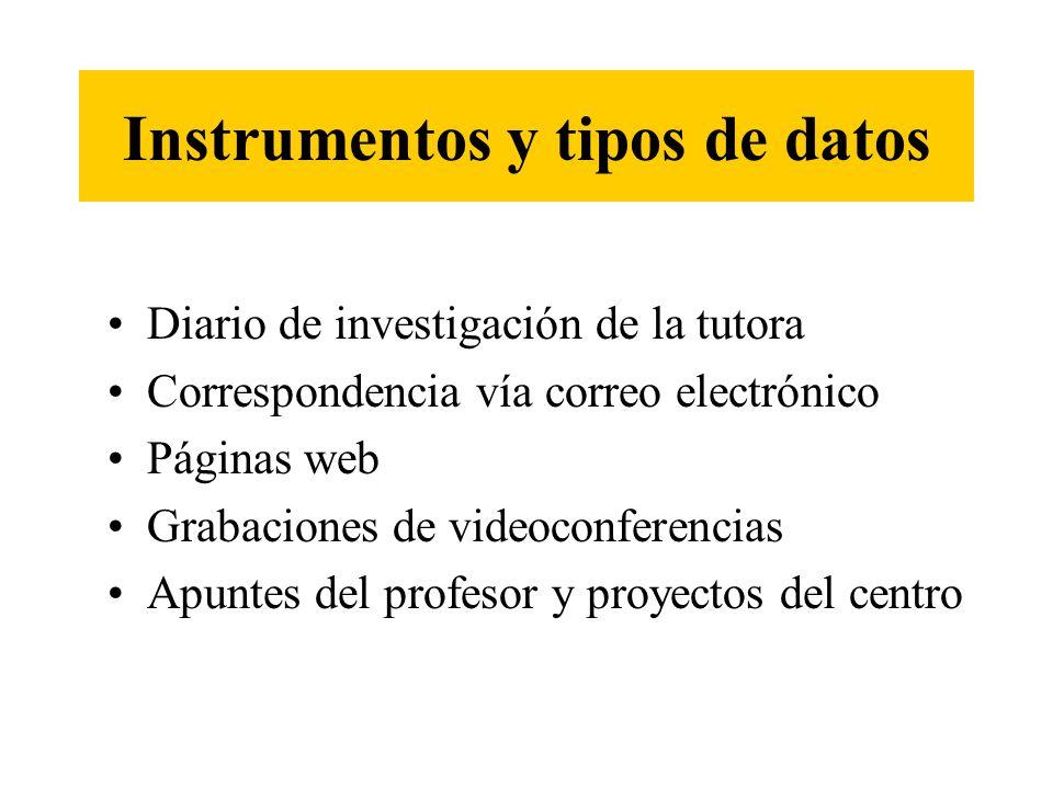 Instrumentos y tipos de datos Diario de investigación de la tutora Correspondencia vía correo electrónico Páginas web Grabaciones de videoconferencias