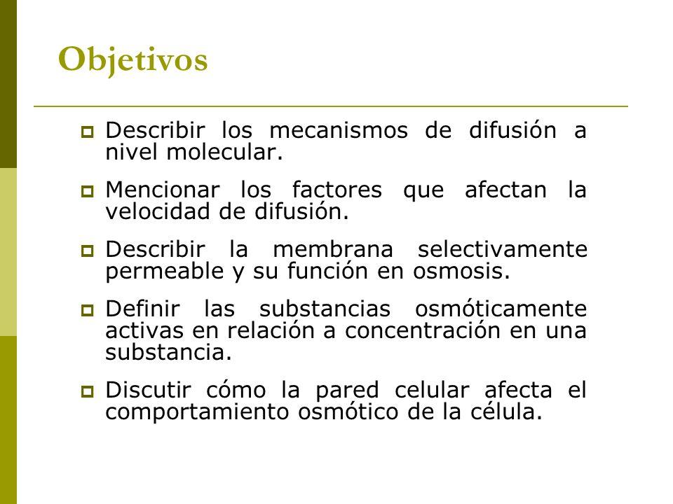 Objetivos Describir los mecanismos de difusión a nivel molecular. Mencionar los factores que afectan la velocidad de difusión. Describir la membrana s