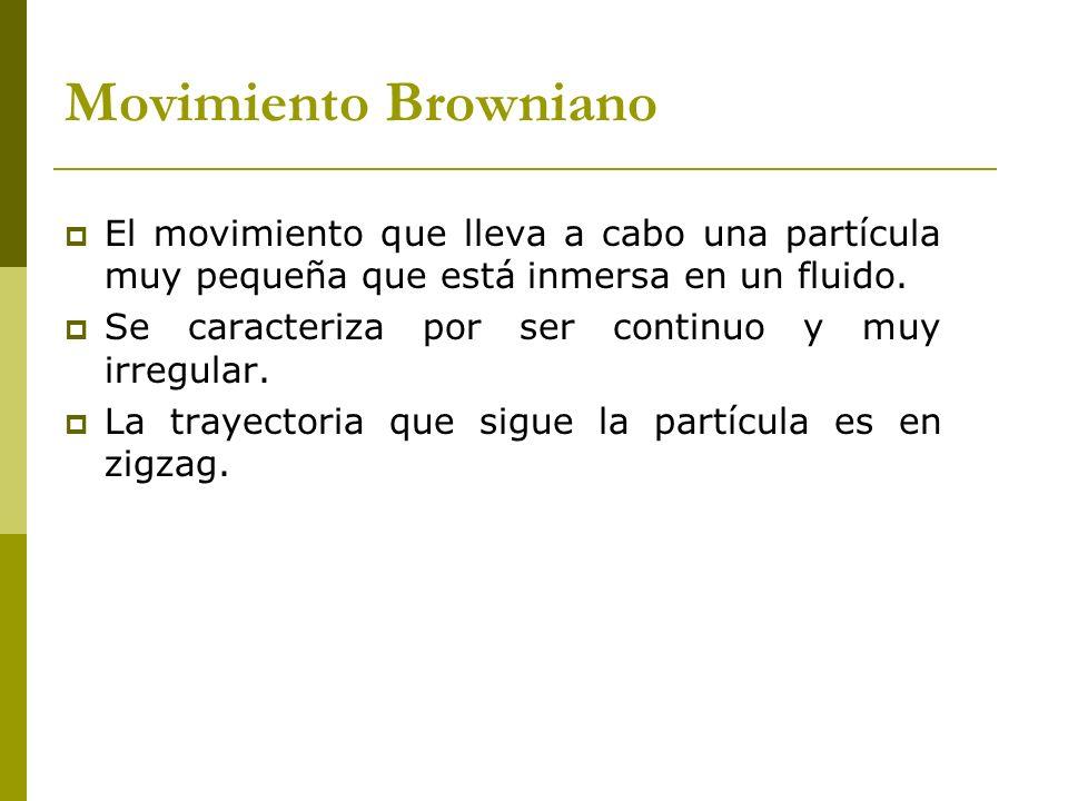 Movimiento Browniano El movimiento que lleva a cabo una partícula muy pequeña que está inmersa en un fluido. Se caracteriza por ser continuo y muy irr