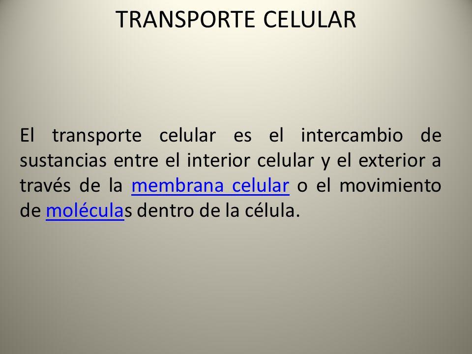 TRANSPORTE CELULAR El transporte celular es el intercambio de sustancias entre el interior celular y el exterior a través de la membrana celular o el