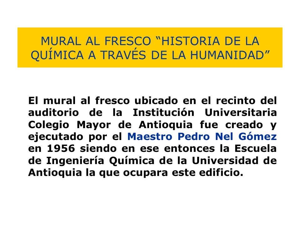 MURAL AL FRESCO HISTORIA DE LA QUÍMICA A TRAVÉS DE LA HUMANIDAD El mural al fresco ubicado en el recinto del auditorio de la Institución Universitaria