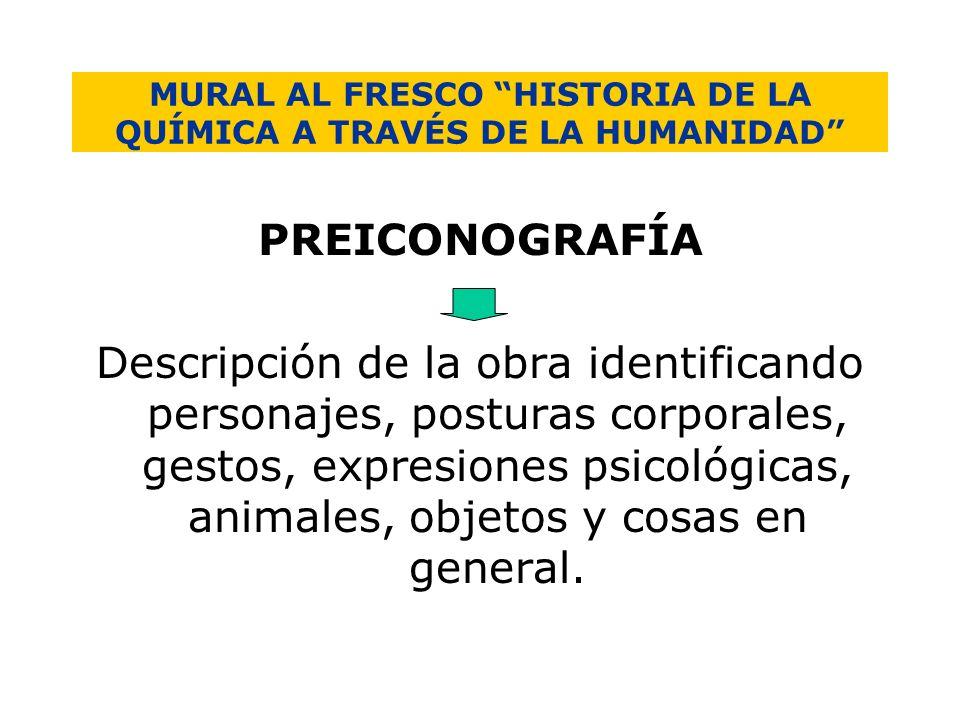 MURAL AL FRESCO HISTORIA DE LA QUÍMICA A TRAVÉS DE LA HUMANIDAD PREICONOGRAFÍA Descripción de la obra identificando personajes, posturas corporales, g