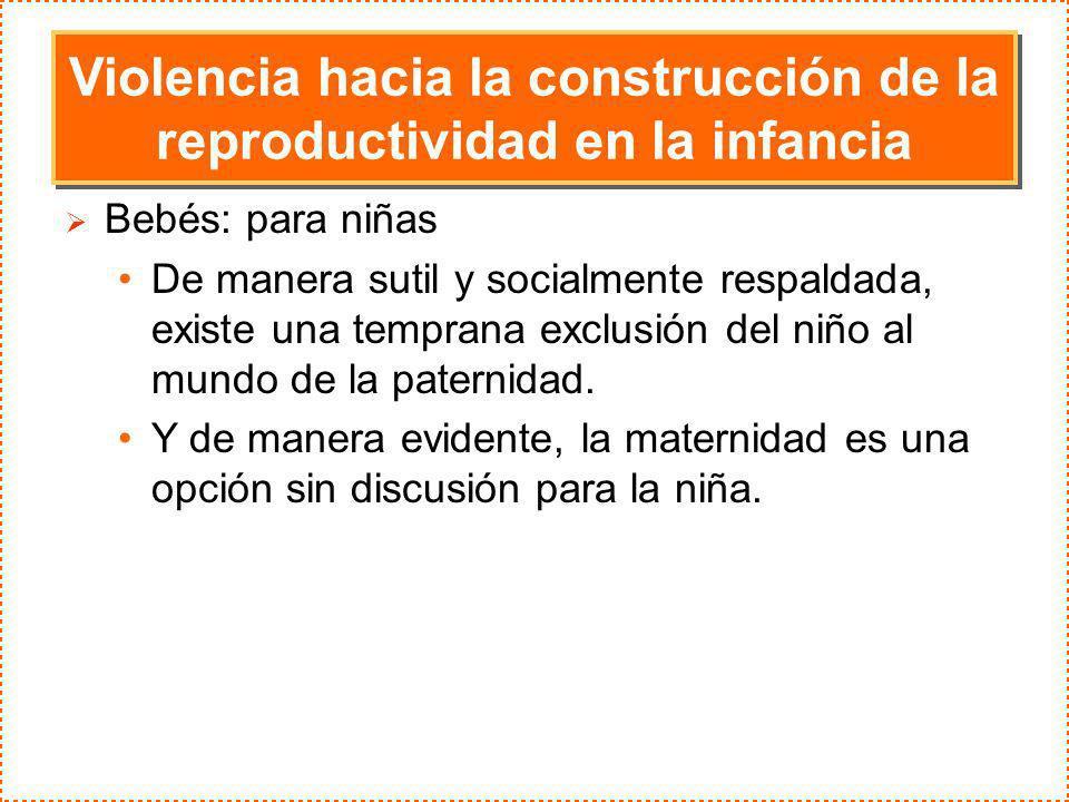Violencia hacia la construcción de la reproductividad en la infancia Bebés: para niñas De manera sutil y socialmente respaldada, existe una temprana e