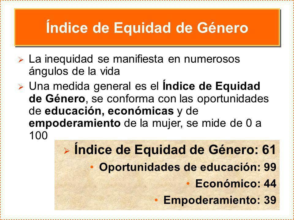 Índice de Equidad de Género La inequidad se manifiesta en numerosos ángulos de la vida Una medida general es el Índice de Equidad de Género, se confor