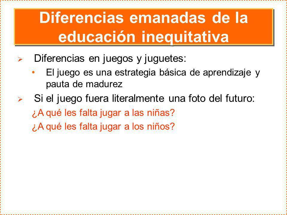 Diferencias emanadas de la educación inequitativa Diferencias en juegos y juguetes: El juego es una estrategia básica de aprendizaje y pauta de madure