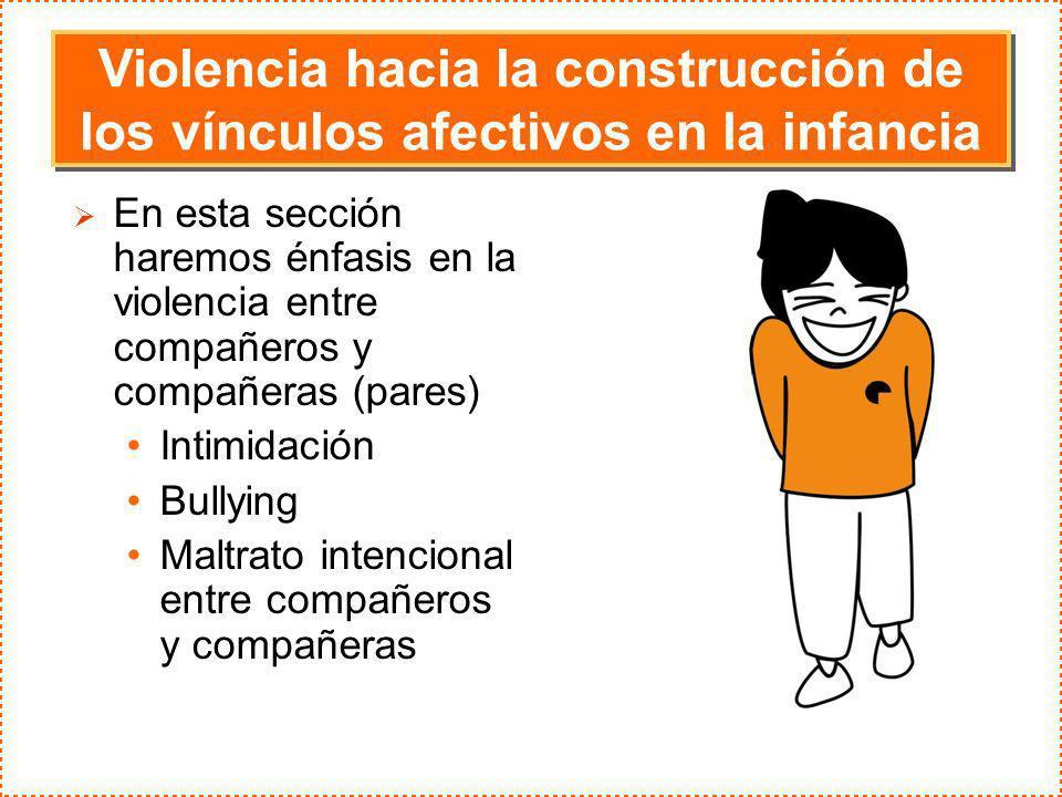 En esta sección haremos énfasis en la violencia entre compañeros y compañeras (pares) Intimidación Bullying Maltrato intencional entre compañeros y co