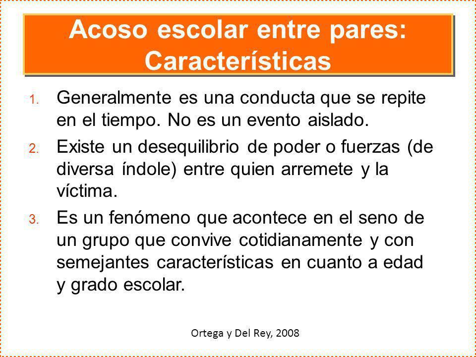 Acoso escolar entre pares: Características 1. Generalmente es una conducta que se repite en el tiempo. No es un evento aislado. 2. Existe un desequili