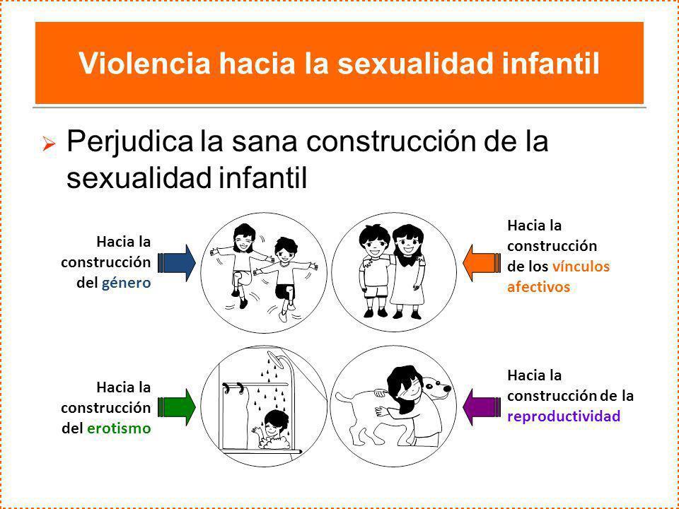 Violencia hacia la sexualidad infantil Perjudica la sana construcción de la sexualidad infantil Hacia la construcción del género Hacia la construcción