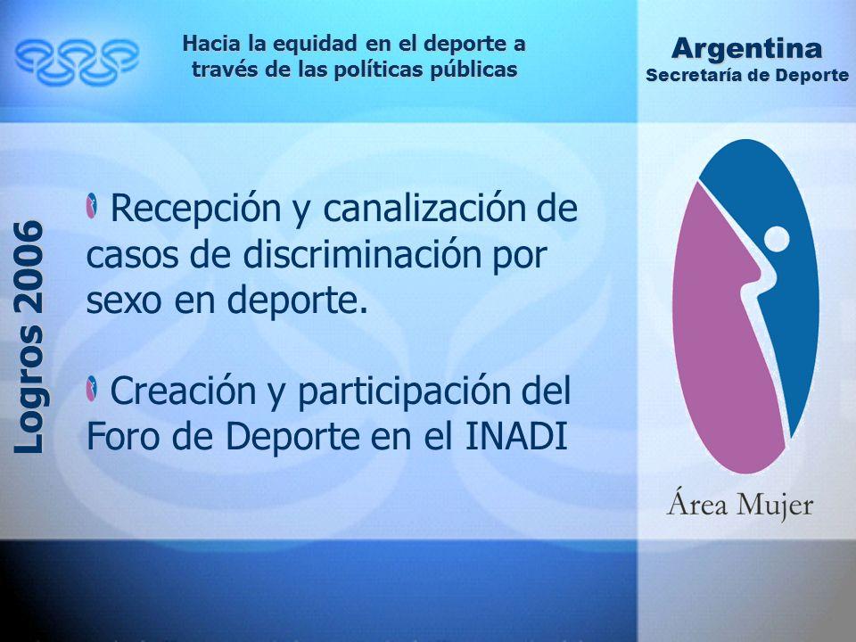 Hacia la equidad en el deporte a través de las políticas públicas Argentina Secretaría de Deporte Logros 2006 Recepción y canalización de casos de discriminación por sexo en deporte.