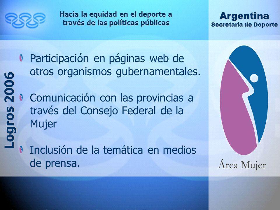 Participación en páginas web de otros organismos gubernamentales.