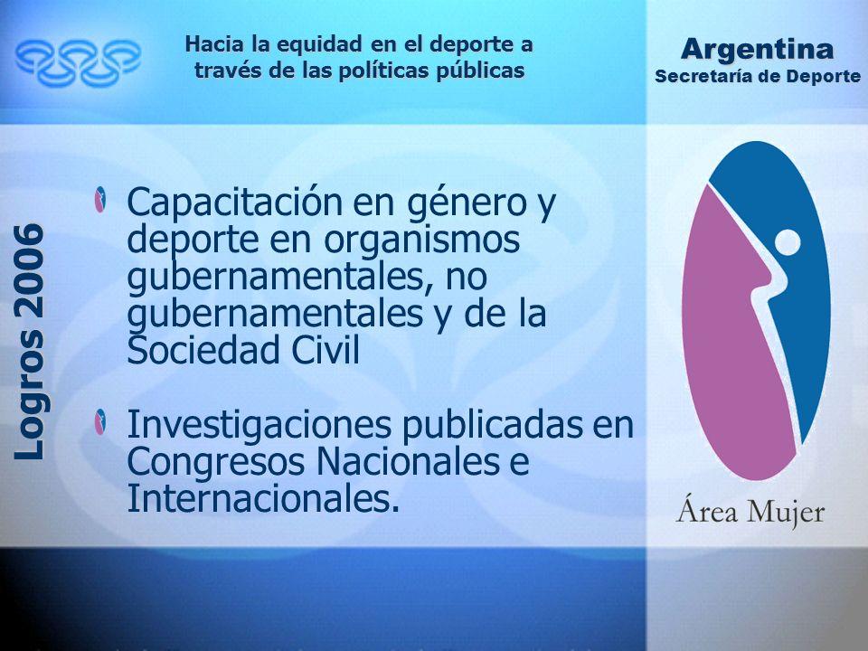 Capacitación en género y deporte en organismos gubernamentales, no gubernamentales y de la Sociedad Civil Investigaciones publicadas en Congresos Nacionales e Internacionales.