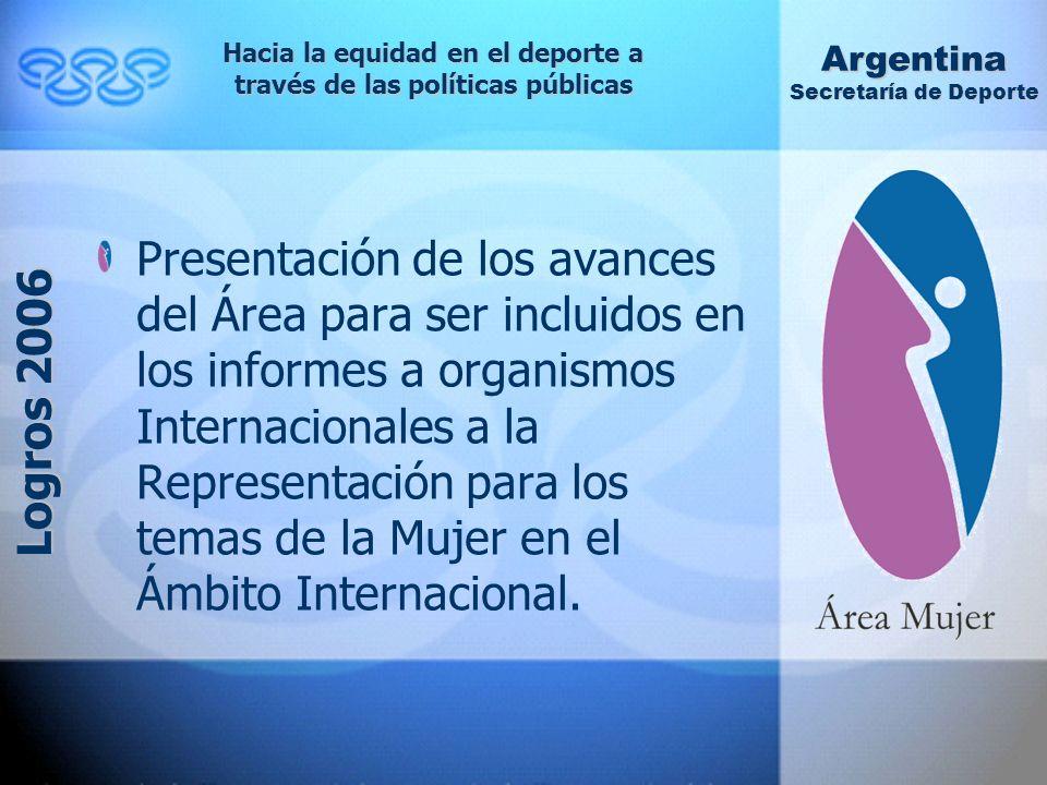 Presentación de los avances del Área para ser incluidos en los informes a organismos Internacionales a la Representación para los temas de la Mujer en el Ámbito Internacional.
