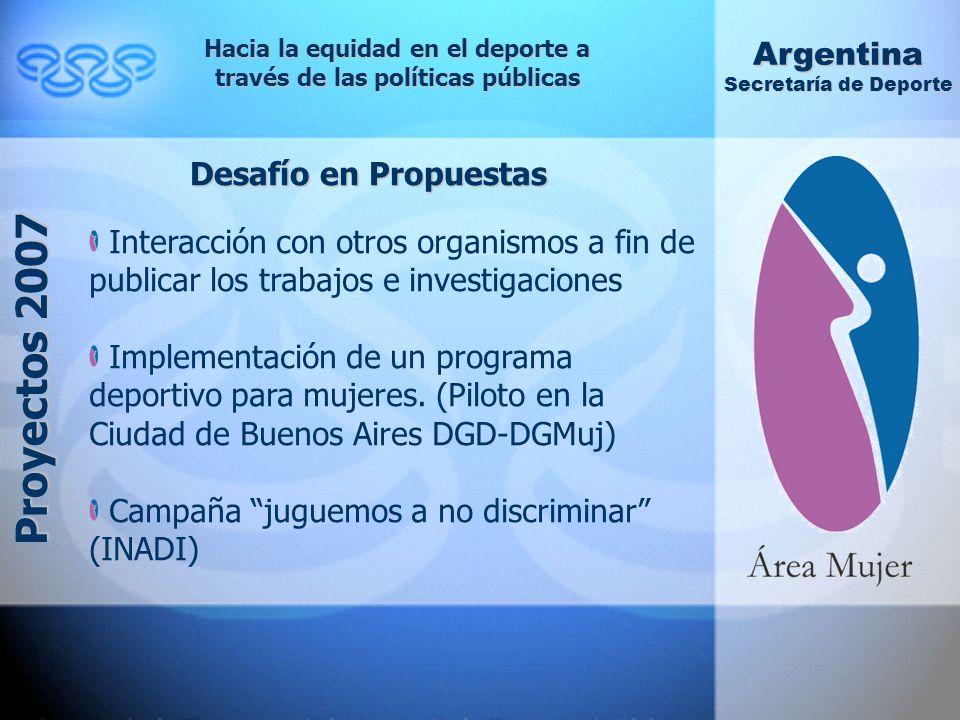 Hacia la equidad en el deporte a través de las políticas públicas Argentina Secretaría de Deporte Proyectos 2007 Desafío en Propuestas Interacción con otros organismos a fin de publicar los trabajos e investigaciones Implementación de un programa deportivo para mujeres.