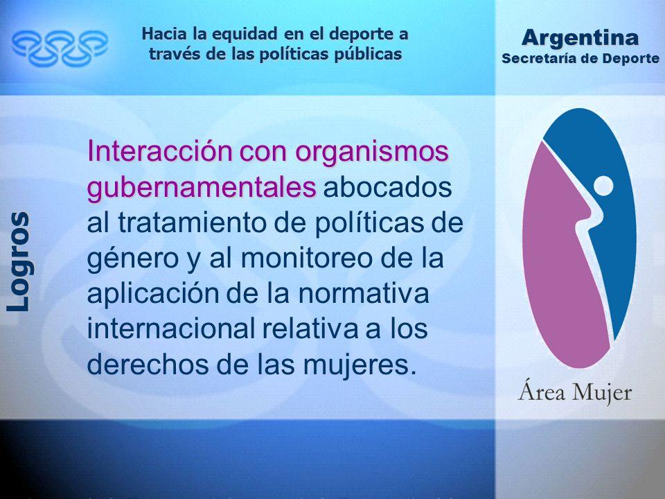 Interacción con organismos gubernamentales Interacción con organismos gubernamentales abocados al tratamiento de políticas de género y al monitoreo de la aplicación de la normativa internacional relativa a los derechos de las mujeres.