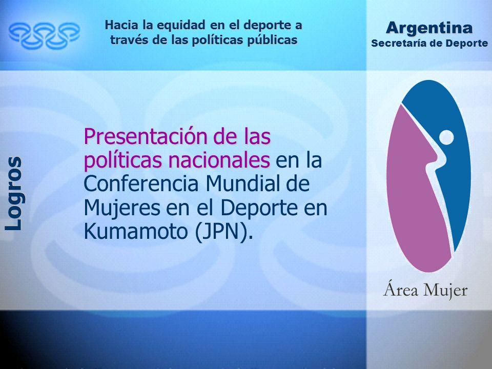 Presentación de las políticas nacionales Presentación de las políticas nacionales en la Conferencia Mundial de Mujeres en el Deporte en Kumamoto (JPN).