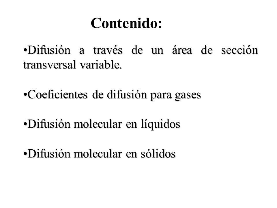 Contenido: Difusión a través de un área de sección transversal variable.Difusión a través de un área de sección transversal variable. Coeficientes de