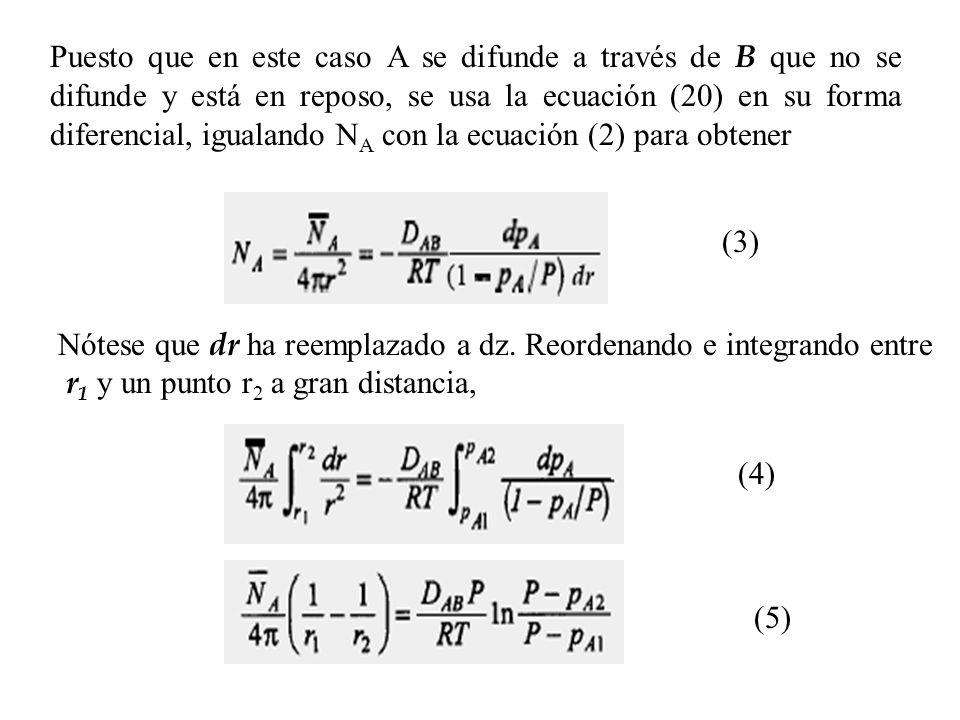 Puesto que en este caso A se difunde a través de B que no se difunde y está en reposo, se usa la ecuación (20) en su forma diferencial, igualando N A