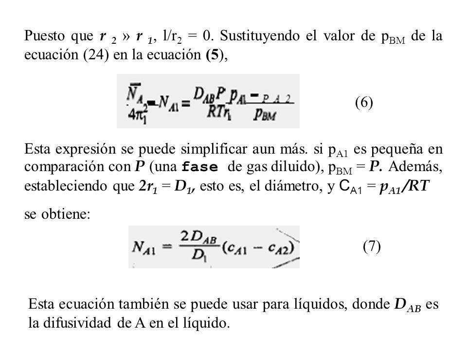 Puesto que r 2 » r 1, l/r 2 = 0. Sustituyendo el valor de p BM de la ecuación (24) en la ecuación (5), (6) Esta expresión se puede simplificar aun más