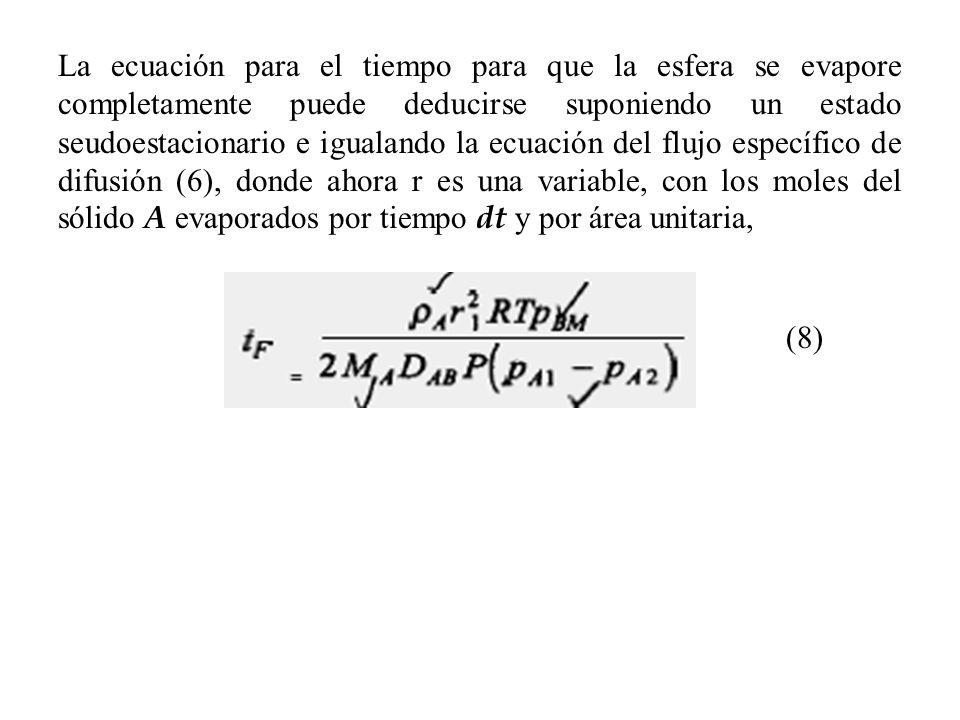 La ecuación para el tiempo para que la esfera se evapore completamente puede deducirse suponiendo un estado seudoestacionario e igualando la ecuación