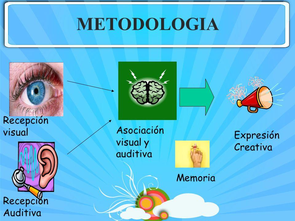 METODOLOGIA Recepción visual Recepción Auditiva Asociación visual y auditiva Memoria Expresión Creativa