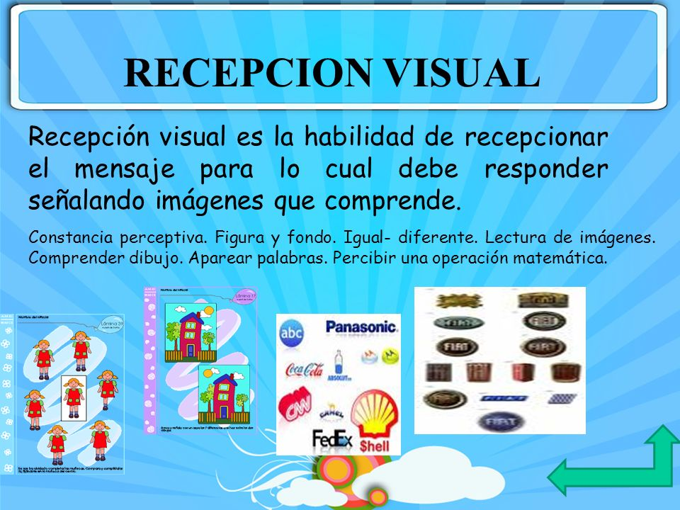 Constancia perceptiva. Figura y fondo. Igual- diferente. Lectura de imágenes. Comprender dibujo. Aparear palabras. Percibir una operación matemática.
