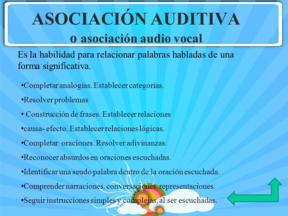 ASOCIACIÓN AUDITIVA o asociación audio vocal Completar analogías. Establecer categorías. Resolver problemas Construcción de frases. Establecer relacio
