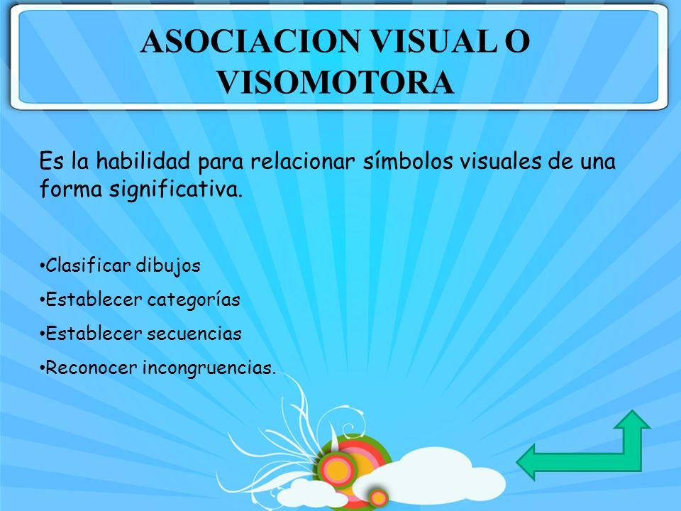 Es la habilidad para relacionar símbolos visuales de una forma significativa. Clasificar dibujos Establecer categorías Establecer secuencias Reconocer