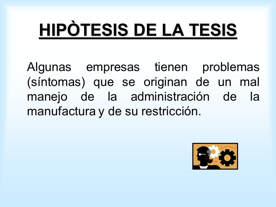 HIPÒTESIS DE LA TESIS Algunas empresas tienen problemas (síntomas) que se originan de un mal manejo de la administración de la manufactura y de su restricción.