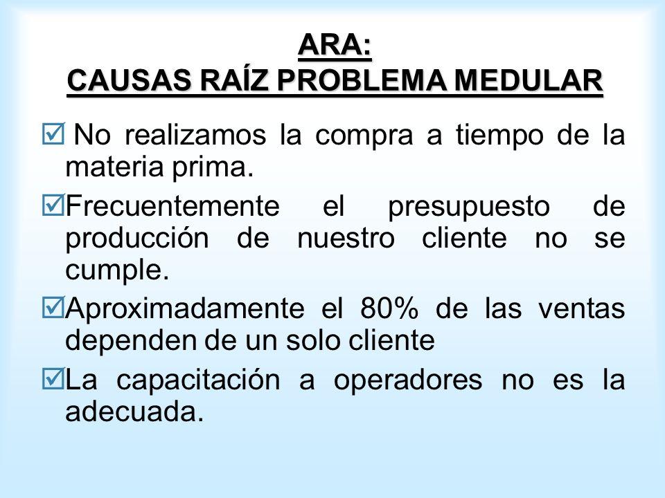 ARA: CAUSAS RAÍZ PROBLEMA MEDULAR No realizamos la compra a tiempo de la materia prima.
