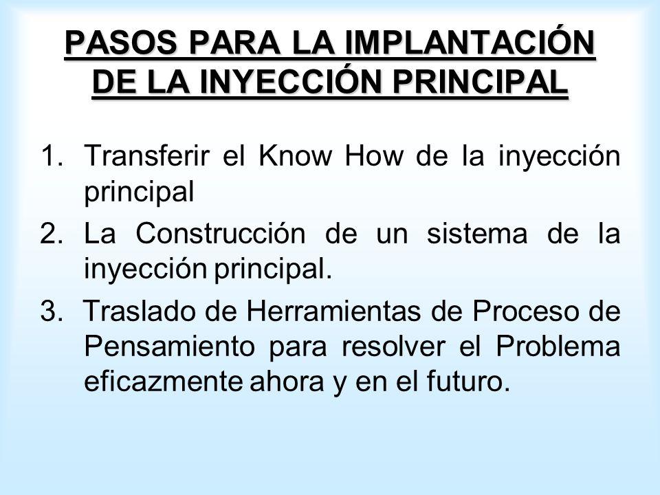 PASOS PARA LA IMPLANTACIÓN DE LA INYECCIÓN PRINCIPAL 1.Transferir el Know How de la inyección principal 2.La Construcción de un sistema de la inyección principal.