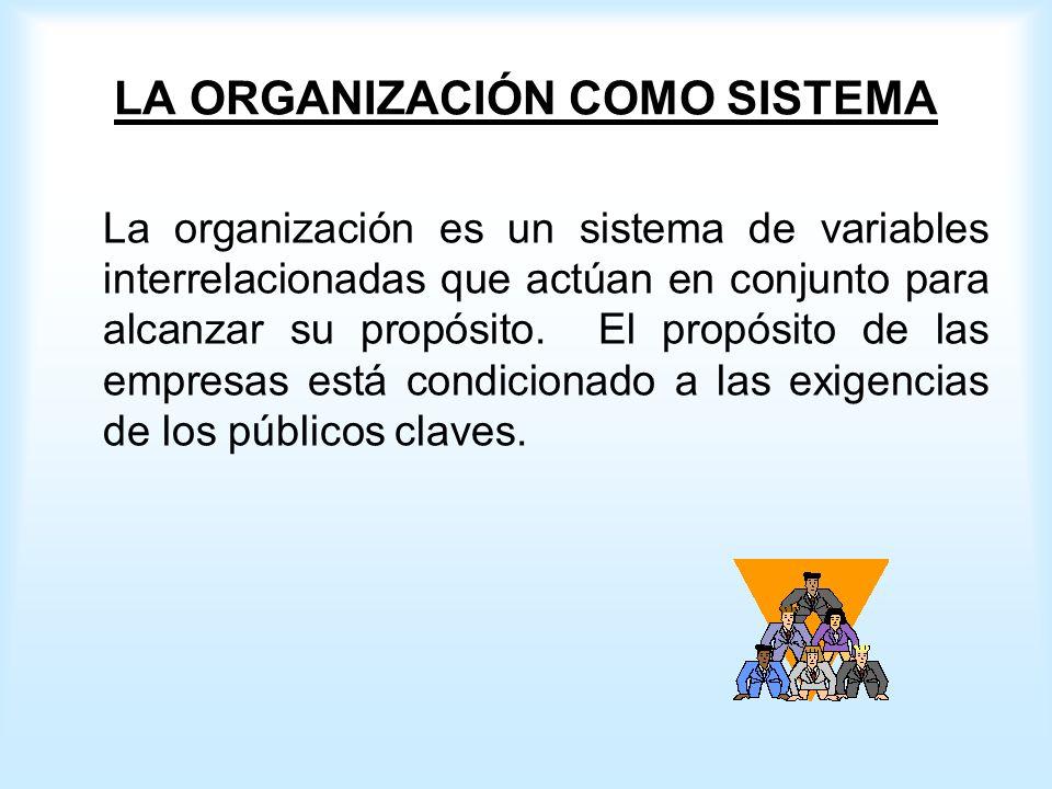 LA ORGANIZACIÓN COMO SISTEMA La organización es un sistema de variables interrelacionadas que actúan en conjunto para alcanzar su propósito.